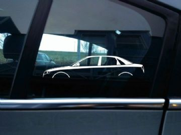 2X Car silhouette stickers - for Audi A4 , B7 (2006–2008) 4-door sedan
